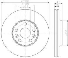 ON FREN AYNASI (DISKI) HAVALI KANGOO III - MERCEDES CITAN 1, 5DCI1, 6 08 - > (5 BIJON)
